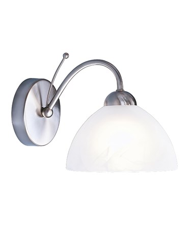 Searchlight Milanese Single Wall Light - Satin Silver - Alabaster Glass