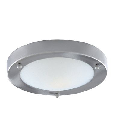 Searchlight Bathroom Flush Light - Domed Opal Glass Diffuser - Satin Silver