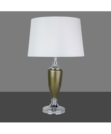 Large Malham Green and Chrome Classic Ceramic Table Lamp and Shade