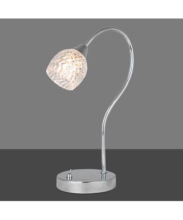 Hendon Polished Chrome / Shiny Silver - Bedside Table Lamp / Desk Lamp / Light