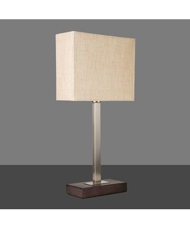 Medici Modern Table Lamp - Rectangular - Satin Silver - Dark Wood - Beige Shade