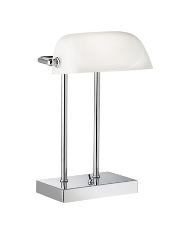 Searchlight Bankers Lamp Chrome - White Glass Shade