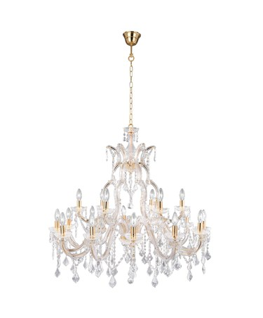 Searchlight Marie Therese Tiered 18 Light Chandelier - Crystal - Brass