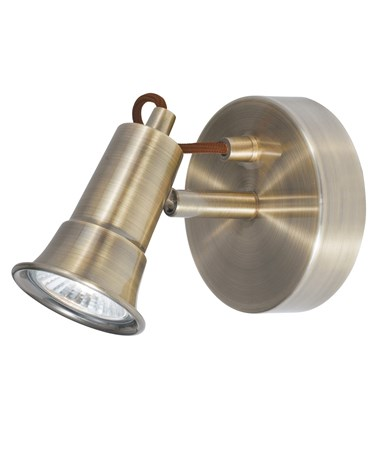 Searchlight Eros  Wall Spotlight - Antique Brass - Adjustable