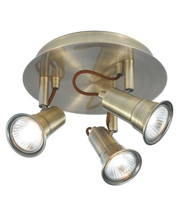 Searchlight Eros 3 Spotlight Fitting - Circular - Antique Brass