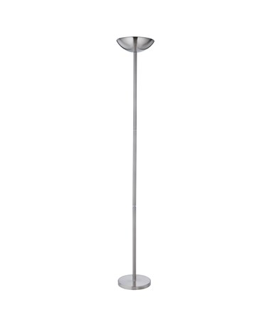 Searchlight Pole Uplighter Floor Lamp - Satin Silver - Inline Dimmer Switch