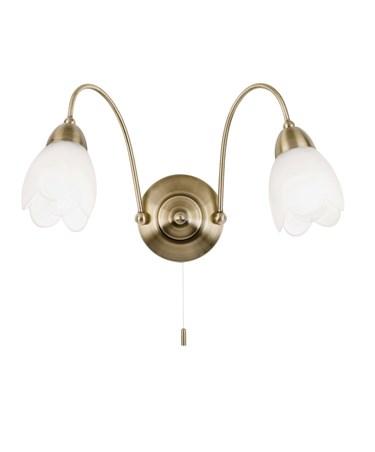 Endon Petal Wall Light - 2 Light - Antique Brass