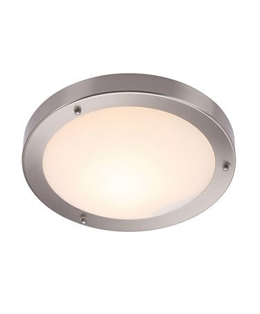 Endon Portico Flush Bathroom Ceiling Light - Satin Nickel - IP44