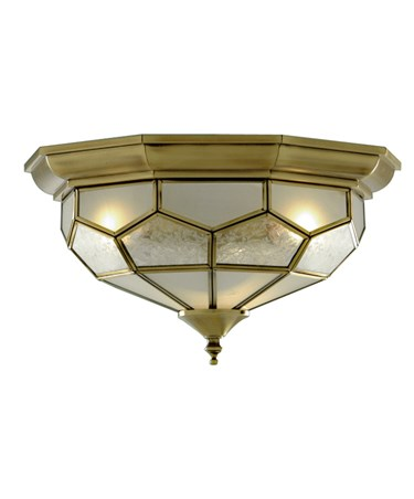 Searchlight Flush Ceiling Light - Antique Brass - Leaded Frosted Glass