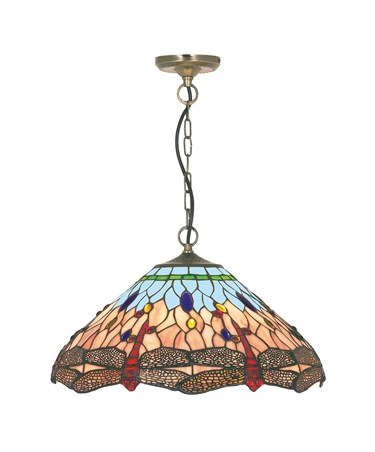 Searchlight Dragonfly Tiffany Ceiling Light - Pendant