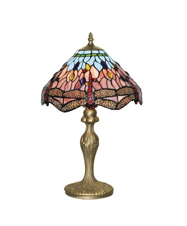 Searchlight Dragonfly Tiffany Table Lamp - Brass Base - 47Cm