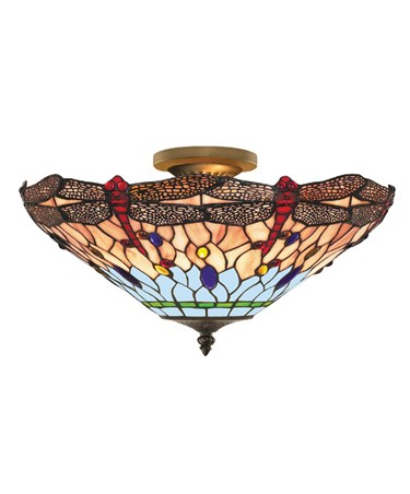 Searchlight Dragonfly Tiffany Uplighter - Semi Flush