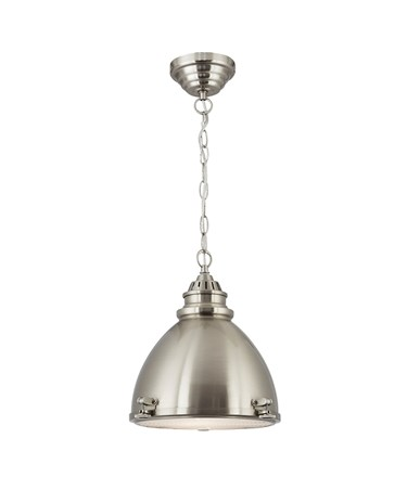 Searchlight Dome Pendant Light - Satin Nickel - Frosted Glass Diffuser