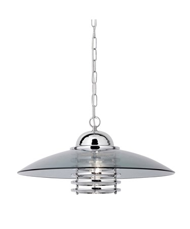 Searchlight Modern Coolie Pendant Light - Chrome With Smokey Glass Shade