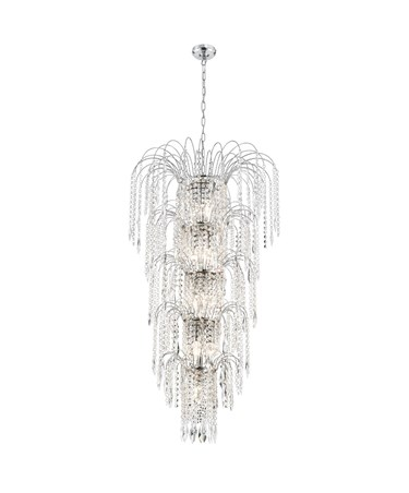 Searchlight Waterfall 13 Light 5 Tier Chandelier - Chrome - Crystal Drops
