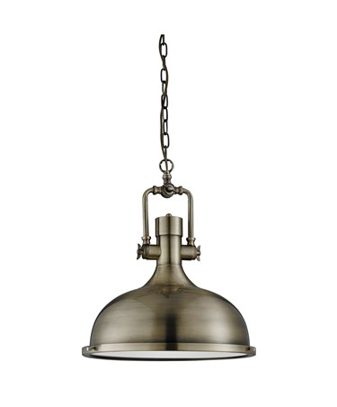 Searchlight Industrial Chain Pendant Light - Frosted Glass - Antique Brass - M