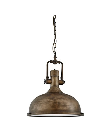 Searchlight Industrial Chain Pendant Light - Frosted Glass - Black Gold - M