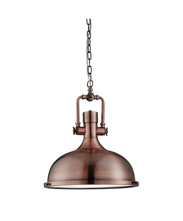 Searchlight Industrial Chain Pendant Light - Frosted Glass - Antique Copper - M