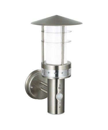 Endon Pagoda LED PIR Outdoor Wall Light - Brushed Stainless Steel - IP44