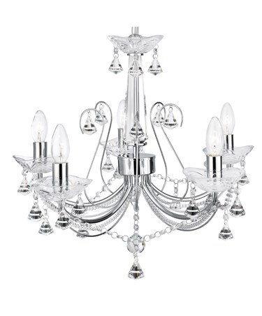 Searchlight Lafayette 5 Light Chandelier - Chrome & Clear Crystal & Glass Detail