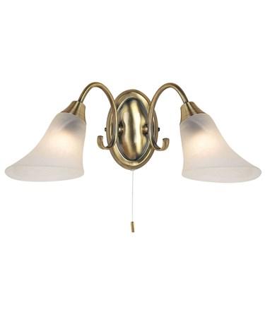 Endon Hardwick Wall Light - 2 Light - Antique Brass