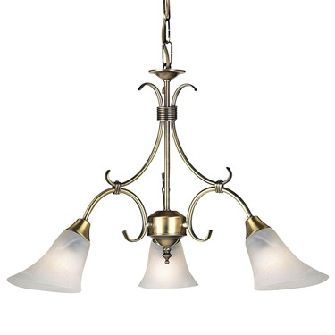 Endon Hardwick Pendant Light - Antique Brass & Frosted Glass - 3 Light