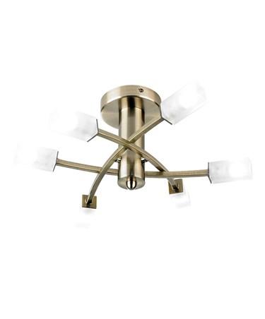 Endon Havana Semi Flush Ceiling Light - Antique Brass - Acid Glass - 6 Light