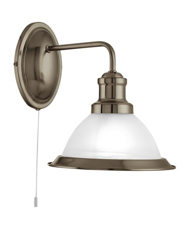 Searchlight Bistro Industrial Wall Light - Antique Brass - Pull Cord
