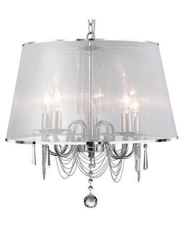 Searchlight Venetian Ceiling 5 Light - Chrome - White Shade Chain Links & Glass