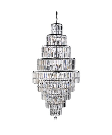 Searchlight Empire 13 Light Tiered Chandelier - Chrome - Crystal Coffin Drops