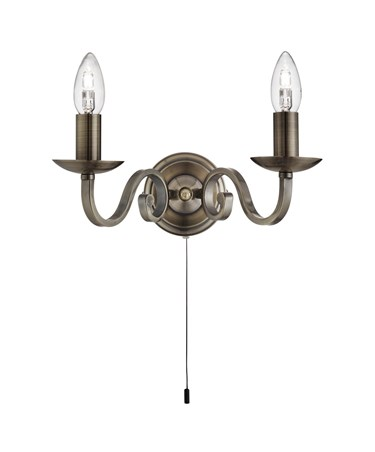 Searchlight Richmond Traditional Double Wall Light - Scroll Arms - Antique Brass