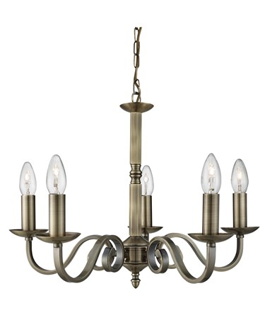 Searchlight Richmond Traditional Ceiling 5 Light - Scroll Arms - Antique Brass