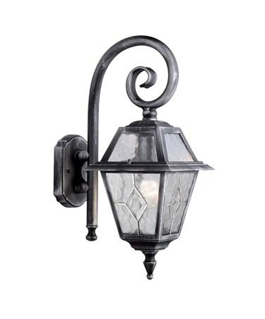 Searchlight Genoa Outdoor Wall Light - Black/Silver/Lead Glass