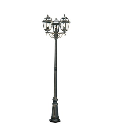 Searchlight New Orleans 3 Light Outdoor Post Lamp - Black & Gold