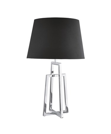 Searchlight Crossed Frame Table Lamp - Chrome - Black Tapered Shade