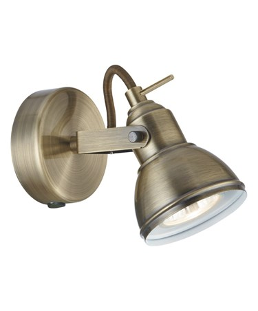 Searchlight Focus Industrial Wall Spotlight - Antique Brass - Switched