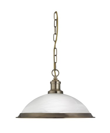 Searchlight Bistro Industrial Pendant - Antique Brass - Marble Glass Shade
