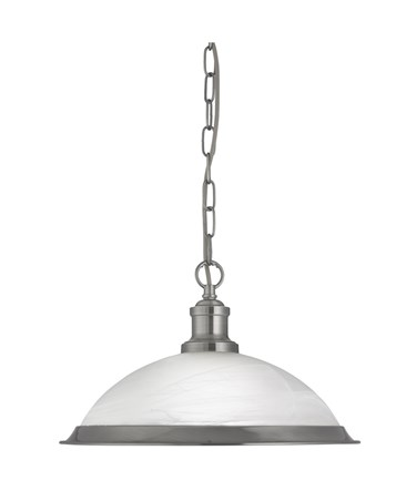 Searchlight Bistro Industrial Pendant - Satin Silver - Marble Glass Shade