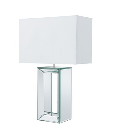 Searchlight Hollow Centre Rectangle Table Lamp - Mirrored Chrome - White Shade