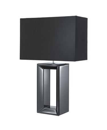Searchlight Hollow Centre Rectangle Table Lamp - Black Mirror - Black Shade