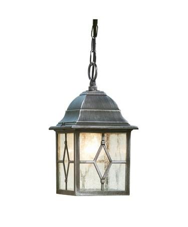 Searchlight Genoa Outdoor Pendant Light - Traditional - Black/Silver/Lead Glass