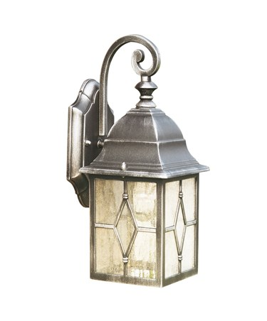 Searchlight Genoa Outdoor Lantern Wall Light - Black/Silver/Lead Glass