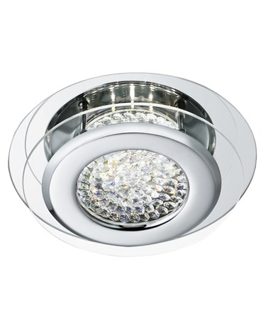 Searchlight Vesta Flush Ceiling Light - Led - Chrome - Crystal Centre Decoration