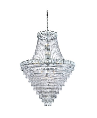 Searchlight Louis Philipe Crystal 28 Light Tiered Chandelier - Crystal & Chrome
