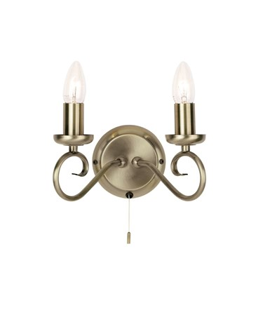 Endon Trafford Wall Light - 2 Light - Antique Brass