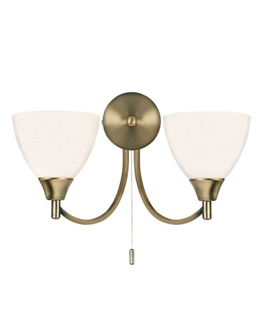 Endon Alton Wall Light - 2 Light - Antique Brass - Pull Cord
