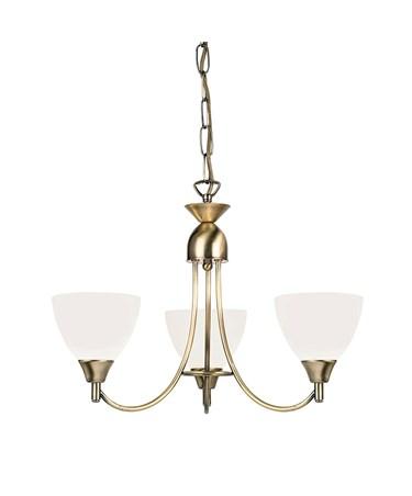 Endon Alton Pendant Light Fitting - Antique Brass & Frosted Glass - 3 Light