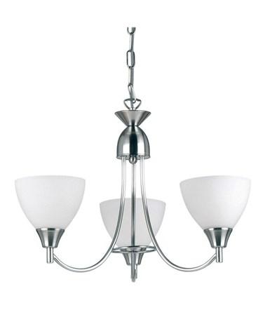 Endon Alton Pendant Light Fitting - Satin Nickel & Frosted Glass - 3 Light