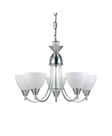 Endon Alton Pendant Light Fitting - Satin Nickel & Frosted Glass - 5 Light