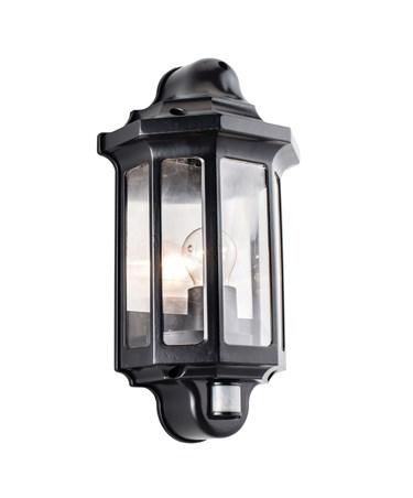Endon Traditional PIR Half Lantern 60W Outdoor Wall Light - Black - IP44